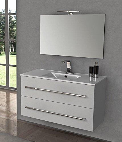 Yellowshop - mobile mobiletto sospeso da bagno in legno cm 100 completo di lavabo e specchiera led arredo moderno modello ginevra varie colorazioni (bianco frassino)