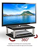 RICOO Rotary Wooden TV Stand Rack FS053B Monitor Mount Universal LED Curved QLED QE LCD OLED Television Cabinet Pedestal Floating Shelf Table Base Single Screen Heightening 360 Degrees Rotation/Black