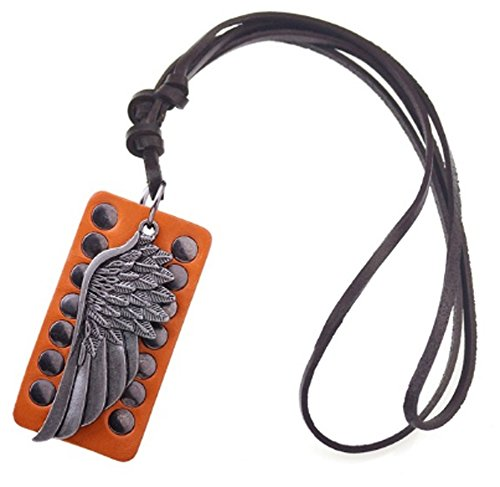 SaySure - Genuine Leather Necklace Steampunk Big Feather