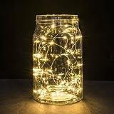 Kingko Lichterkette 20LED Leuchte 2 Meter Kupferkabel Wasserdichte Lichterketten Innen Außen Deko Lichter für Weihnachten Partys Garten Hochzeiten Aussen Dekoration (Beige)