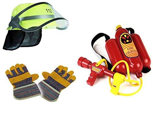Kaufen-schenken-spielen Feuerwehr Mega Set 3-teilig ! Helm, Handschuhe & Wasserspritze (Teilig Kostüme Spiel)