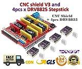 CNC Shield V3 Extender Board + 4pcs DRV8825 Stepper Motor Driver for 3D Printer circuit CNC V3.0 + DRV8825 Motor-Schrittmotor mit Kühlkörper-Bausatz für Arduino