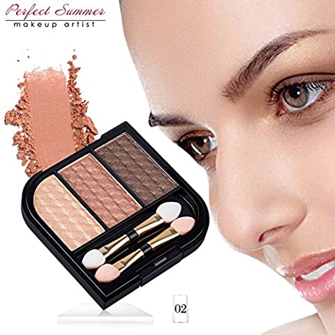 Makeup Brown Shimmer Eyeshadow Palette - Perfect Summer THREECES002 (2017 New Design) 3 Colors Metallic Gold Eyeshadow Pallet Long Lasting Waterproof Shade Including Brush 5.6g,