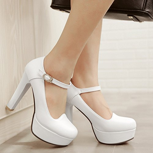 TAOFFEN Damen Fashion Closed High Heel Pumps Mary-jane Party Schuhe Weiß