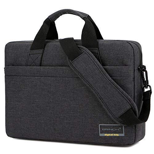 BRINCH 15,6 Zoll Laptop Tasche tragbar Businesstasche Leichtgewichts Messenger Bag Umhängetasche mit Trageriemen für 15 - 15,6 Zoll Laptop / Tablet / MacBook / Chromebook / Ultrabook / Herren / Damen,Schwarz