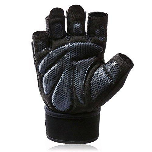 1 Paar Fitness Handschuhe Trainingshandschuhe mit Handgelenkstütze für Kraftsport, Gewichtheben und Gym Workout Bodybuilding Herren Damen (L)