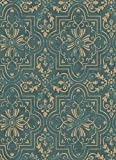 Damast-Papier Gold glänzend auf grüner Basis tiffany Antik-Optik Venezia 27513-50
