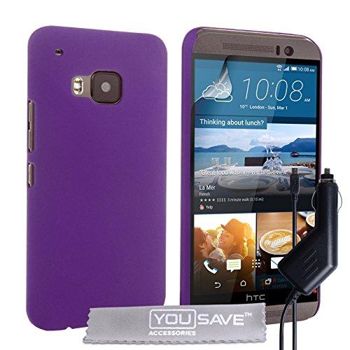 Yousave Accessories® Cover per HTC One (M9) 2015 Custodia Duro Ibrido Viola con Caricabatteria da Auto
