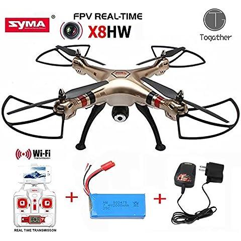 Togather® 2016 nuevo modelo Syma X8HW 4 canal 6 Axis girocompás Wifi FPV RC Drone RTF Quadcopter con Wifi cámara en tiempo real - de oro (mejor noticia extra 1 pieza 2000mah baterías y cargador de batería para su reemplazo)