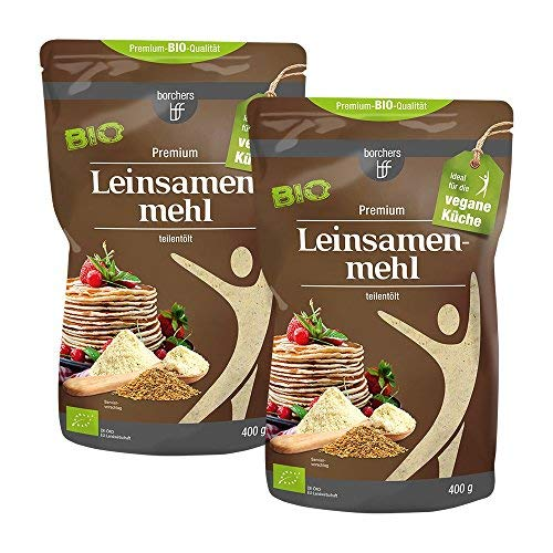 2 x borchers Bio Leinsamenmehl, Mehl aus Goldleinsaat, Von Natur aus Ballaststoffreich, Hoher Eiweißgehalt, Vegetarisch, Vegan, 400 g -