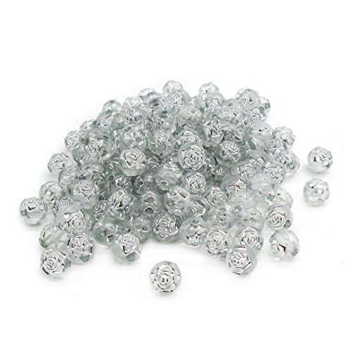 TOAOB 8mm Spacer Beads Silver Rose Flowers Design Acrylic Beads for Jewelry Making Beading Crafts Pack of 100