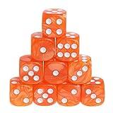 Manyo 10pcs 6 Seitige Würfel, leicht und tragbar, perfekt für Brettspiel, Club und Bar Spiel Tool, Familienspiel, Math Teaching. (Orange)