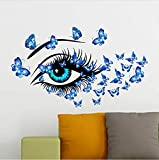 KUANGJING SchlafzimmerWand StickerButterflies Frauenaugen Mural Art Home Decor Blue Eye Wandaufkleber Decals Wohnzimmer Schlafzimmer TV Sofa Hintergrund Dekor
