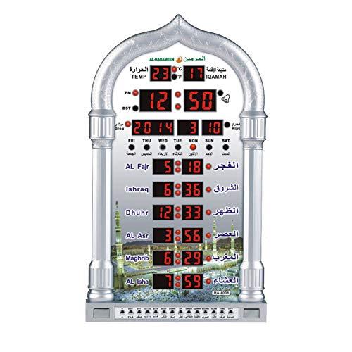 TLfyajJ Rechteck LCD-Digitalanzeige moslemisches Azan-Gebet-elektronischer Timer-Wecker Silber (Indiglo Uhr)