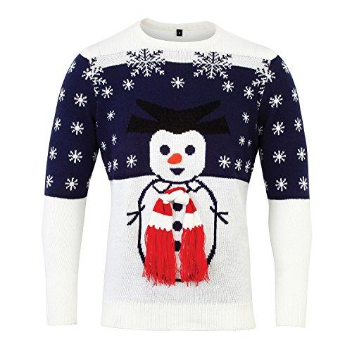 Christmas Shop - Pull à motif bonhomme de neige 3D - Adulte unisexe Bleu marine/Blanc