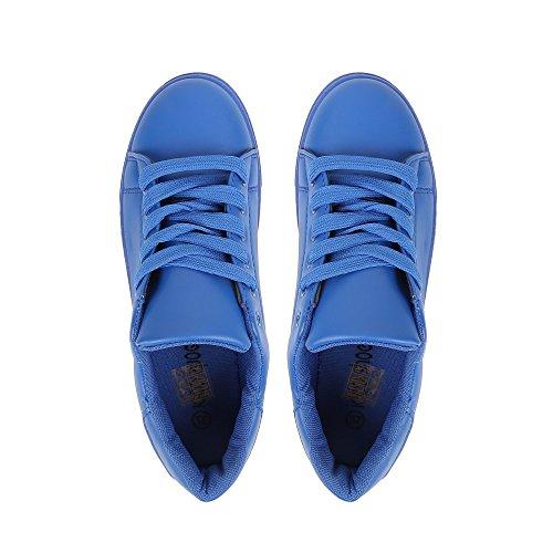 Ideal Shoes - Baskets basses en similicuir et colorées Jihane Bleu