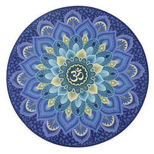 Unbekannt Runde Yoga-Übungsmatte Rutschfeste Heim-Meditationsmatte aus Naturkautschuk, Sitzkissen-Druckmatte (Color : D)