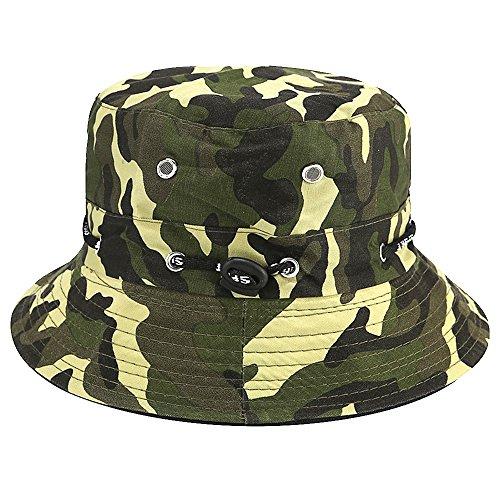 Bllomsem Sommer Baumwolle Fischerhut Safari Wandern Eimer Hut im Freien Sonne brechbare verstellbare Kappe Camouflage