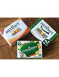 3 Savon ayurvedique Medimix classic , Chandrika et Medimix Sandal et Eladi oils , 2 Medimix de 125 Gram et chandrika...