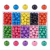 Pandahall Elite 250~300 unidades/caja teñida ecológica colorido redondo de madera conjuntos de cuentas, 10 colores mezclados, 10 x 9 mm, agujero: 3,5 mm