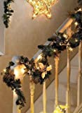 Garden Mile® DELUXE X-LARGE THICK 9FT LUXURY PRE LIT DECORATED CHRISTMAS DECORATIVE GARLAND WITH 50 WARM WHITE LEDs AND DECORATION THROUGHOUT 2.7m LONG