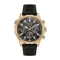 Bulova Marine Star 97B153 - Herren Designer-Armbanduhr - Chronograph mit Sport-Gummiarmband - wasserdicht - Roségoldfarben