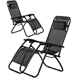 (BTM) Set of 2 Black Folding Garden Patio Deck Pool Recliner Sun-loungers Reclining Chair Furniture Camping Chair Textoline Royale Chair/Black