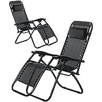 (BTM), confezione da 2, colore: nero, da piscina reclinabile da giardino, Patio Sun-Sdraio reclinabile Textoline per Royale-Sedia da campeggio, colore: nero
