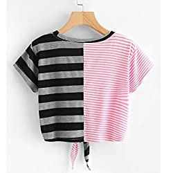 Hot Sale! Womens Striped Patchwork Crop Tops Kanpola Clearance Ladies Fashion Short Sleeve Round Collar Tee Bandage Bowknot T Shirt Blouse by Kanpola