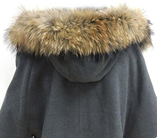 Jeracol Luxuriös Waschbären Pelzkragen Raccoon Pelz Halsband Kragen Schal für Wintermantel Kragen Kapuze Edges,Größe 70*13CM (Lange Kragen Schal)