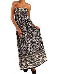 Damen Maxikleid Hippie Bandeau Long Dress Strandkleid