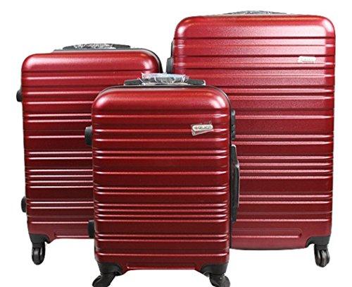 Dublin 3 set da 3 pezzi valige trolly in abs e policarbonato con 4 ruote girevoli 360° gradi colori vari (bordeaux)