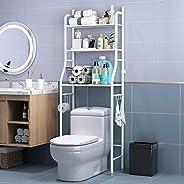 Bathroom Storage Shelf Toilet Storage Rack Bathroom Space Saver 3 Tier with Hook Multi-Functional Steady Free-