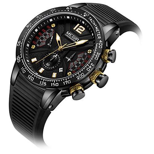 TIZIKJ Männer Sportuhren Silikon Chronograph Quarz Militäruhr Luxusmarke Casual Leuchtende wasserdichte Stoppuhr,Black (Seiko Taucheruhr Solar)