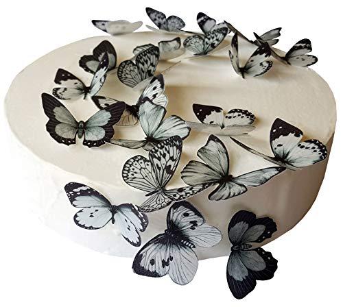 derschöne Schwarz & Grau Schmetterlinge essbarem Reispapier/Oblatenpapier Pre Cupcake Kuchen Dessert Topper Geburtstag Party Hochzeit Baby Dusche Dekorationen, schwarz / grau, M ()