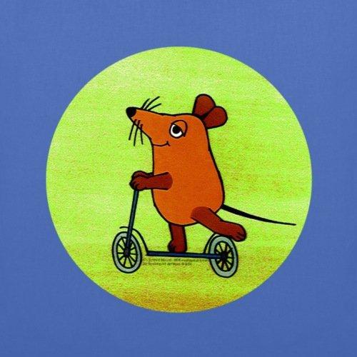 Spreadshirt Maus mit Roller Stoffbeutel Hellblau