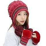 NPRADLA 2018 2 Stücke Damen Winter Warm Gestrickte Venonat Beanie Mütze + Schal Warm Halten Set(One Size,Rot)