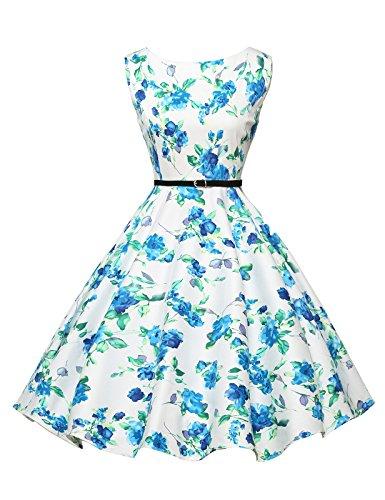 GRACE KARIN Blumen Kleid Rockabilly Damen gürtel Kleid festlich Petticoat Kleider M CL6086-23 (Jahre 1940er Kostüm)