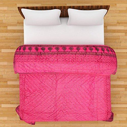 SVT Jaipuri World Famous Light weight Pure Cotton Traditional Rajasthani Gold Print Pink Colour Reversible Double Bed Quilt /Razai / Rajai