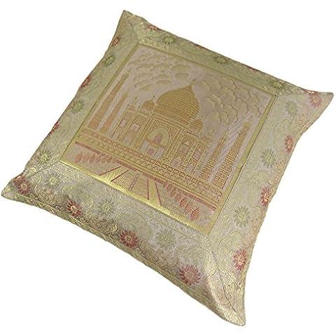 Taj Mahal Rayón Jacquard Tejido Grueso Dorado Verde Cojín 43cm–17