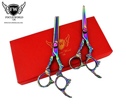 focusworld®-Dragon Profi Friseur Schere Salon mehrfarbig Haarscheren-Set mit Effilierschere Schere 6,5cm - Dragon Scheren