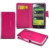 (Hot Pink) Samsung I9003 Galaxy SL Caso fino estupendo Faux Leather succión Pad Monedero piel de la cubierta con el crédito / débito ranuras para tarjetasBy ONX3