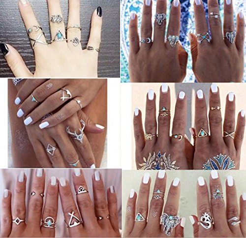 38pcs/Set Jewellry for Women, BURFLY® Women LadiesBohemian Vintage Silver Stack Rings, Above Knuckle Blue Rings Set Gifts for Women Teenager Girls Best Frinds (Multi-colored)