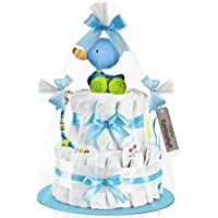 Timfanie® Windeltorte   Ziehente (2-stöckig / baby-blau) vario