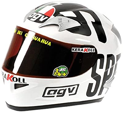 Minichamps 327040096 - AGV Helmet - Valentino Rossi, World Champion Moto GP Philip Island, Maßstab: 1:2 von MINICHAMPS
