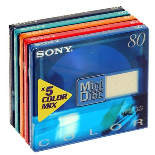 Sony - MiniDisc, Color Mix - cellophaniert, 5 MDS mit je 80 Minuten