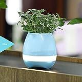 Altavoz Bluetooth música macetas Intelligent Touch Planta Florero de música de piano con colorido LED luz nocturna para oficina en casa decoración, azul