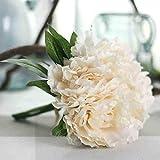 Longra Künstliche Seide gefälschte Blumen Pfingstrose Kunstblume Blumenstrauß Blumen-Bouquet Bridal Bouquet Blume Hochzeit Home Party Dekoration 5 Köpfe Bouquet (A2: 1PC Pfingstrosen)