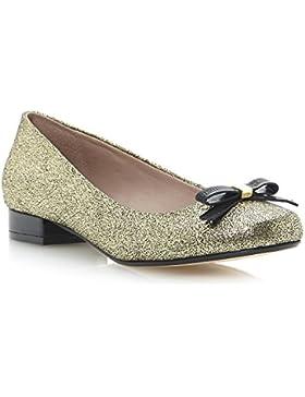 Dune da donna MYSTIC metallizzato fiocco Dettagli Ballerina scarpe oro-metallizzato