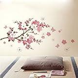 Kicode Farfalla di ciliegio removibile Bricolage art Sakura progettato artigianato Adesivi da muro Decorazione domestica